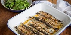 Fish is the Dish provides information and recipes for different species of seafood; and the health benefits of seafood. Sardine Recipes, Fish Recipes, Fish Salad, The Dish, Asparagus, Potato Salad, Zucchini, Seafood, Potatoes