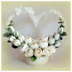 Sweets design ivory wedding centerpiece chocolate flowers