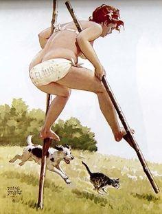 Hilda - on stilts, flour sack bikini
