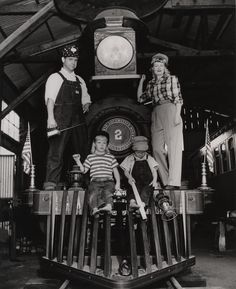 Ward Kimball with his wife Betty and their children Kelly and John on their train Emma Nevada, in 1947. Ward is an animator for the Walt Disney Studios, one of the Disney's Nine Old Men. His also founder of the Dixieland band Firehouse Five Plus Two, in which he played trombone.
