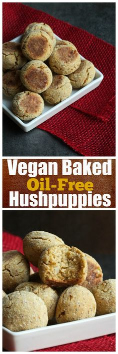 Vegan Baked Oil-Free Hushpuppies. Baked, not fried, oil-free hushpuppies. Dairy-free, vegan and gluten-free and made with almond meal and corn flour.