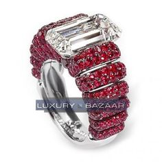 de Grisogono Sophisticated White Gold Bijoux Bague Haute Joaillerie Collection Diamond and Ruby Ring Mom Jewelry, High Jewelry, Jewelery, Jewelry Design, Luxury Jewelry, Expensive Diamond Rings, White Gold, Engagement Rings, Beautiful