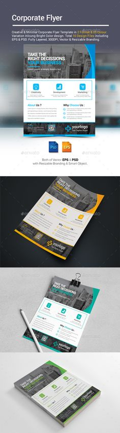 Corporate Flyer Template PSD, Vector EPS. Download here: http://graphicriver.net/item/corporate-flyer/16081664?ref=ksioks