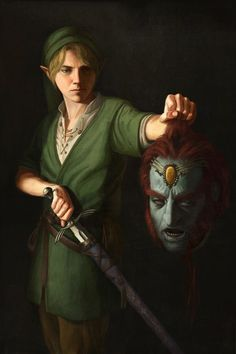 Link with Ganondorf head by Astor Alexander inspired by David with the Head of Goliath (Caravaggio)