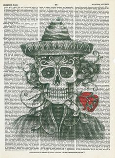 Book Print Mr.Skeleton with a Red Rose on Vintage Upcycle Book Print Art Print Dictionary Print Collage Print by SheriDictionaryPrint on Etsy