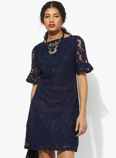 3db819b7b3fa51 Buy Dorothy Perkins Navy Blue Coloured Embroidered Shift Dress for Women  Online India, Best Prices