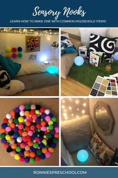 Want to make a space for your child to learn how to self-regulate to help ease behaviours?  Read the blog post about how I created many of these spaces using common household items. Toddler Room Decor, Pregnancy Pillow, Sensory Bottles, Acrylic Mirror, Calming Colors, Toddler Play, Play Spaces, Painters Tape, Nooks