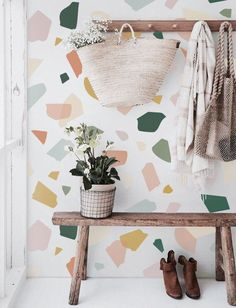 Fabric Wallpaper, Wall Wallpaper, Adhesive Wallpaper, Terrazzo, Scandinavian Bedroom, Deco Design, Interior Design Inspiration, Textured Walls, Cheap Home Decor