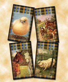 BuY OnE GeT OnE FREE -Set of 12 pRimitivE FARM Animals Vintage Art Hang/Gift Tags- Printable Collage Sheet Download JPG Digital File. $2.50, via Etsy.