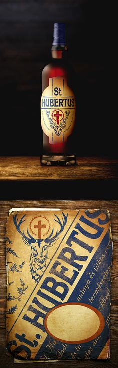 Hubertus by adam boros Alcohol Bottles, Liquor Bottles, Wine And Liquor, Wine And Beer, Bottle Packaging, Bottle Labels, Label Design, Packaging Design, Spirit Photography