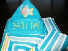 Hooded towel fish applique 060113