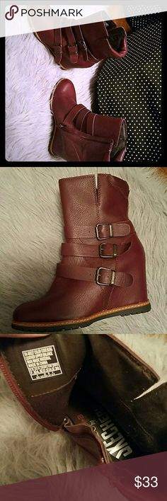 Skechers wedge boots Brand new Super trendy leather Skechers Shoes Ankle Boots & Booties
