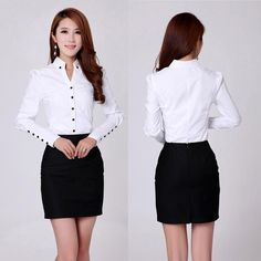 TLZC Elegant Women Career White Shirts Size S-2XL Long Sleeve Button Design Clothing Office Classic Lady Casual Blouses