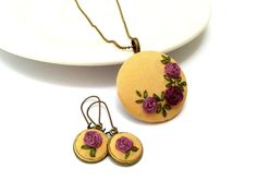 Hey, I found this really awesome Etsy listing at https://www.etsy.com/listing/199791636/floral-jewelry-plum-roses-hand