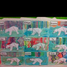 Tangram polar bear with northern lights as background. Done with water colors on water color paper. Finish with snow sparkles. My grade ones did a beautiful job- my favorite art pieces yet