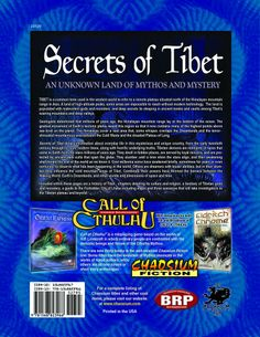 Secrets of Tibet: An Unknown Land of Mythos and Mystery (Call of Cthulhu roleplaying) by Jason Williams, Roderick Robertson, Caleb Cleveland and Lee Simpson (Jan 6, 2014) | Book cover and interior art for Call of Cthulhu Roleplaying Game - CoC, Basic Role-Playing System, BRP, The Card Game, Living Card Game, LCG, Miskatonic, H. P. Lovecraft, fantasy, horror,  RPG, Chaosium Inc. | Create your own roleplaying game books w/ RPG Bard: www.rpgbard.com | Not Trusty Sword art: click artwork for…