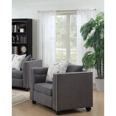 Lyke Home Willow Armchair (Grey) (Polyester Blend)