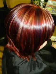 red or purple highlights | random photos short dark hair with blonde highlights hair highlights ...