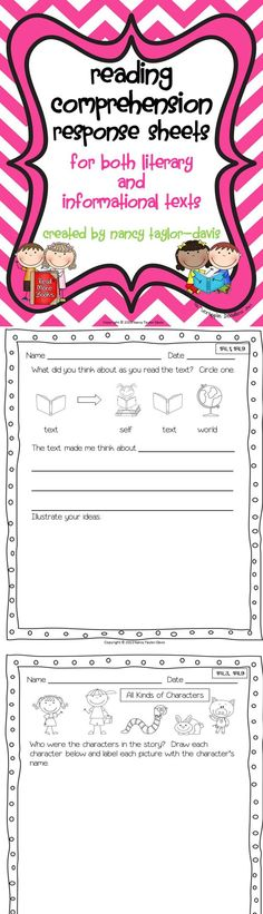 33 printable response sheets for literary and informational text (these are not text specific so they can be used with any text). Common core standards noted on each page.  $