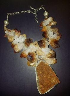 Citrine Statement Necklace GEMMY Citrine Crystal Statement Pendant Oversized Crystal Necklace Autumn Jewelry PAGAN Goddess Jewelry Rough Raw by KATROXWEARATTITUDE on Etsy