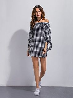 Gingham Off The Shoulder Dress | Choies