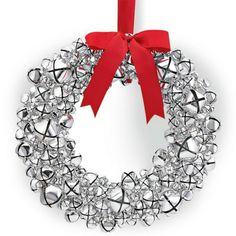 Silver Bell Wreath with Ribbon #WilliamsSonoma