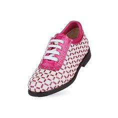 shop luxurious European leather ladies golf shoes including the Aerogreen Pavia Ladies Golf Shoe in White/Pink Metallic