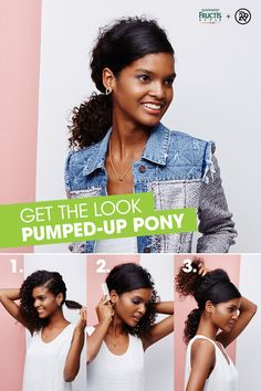 Take your curly pony to the next level with Garnier Fructis Style! 1) Add Curl Construct Mousse to damp strands and air dry. 2) Create a deep side part. Pull half of the hair at nape of neck into a low pony. Repeat with two inches of hair on other side of neck. 3) Lift underside of loose hair and back-comb roots. Smooth crown with a comb. 4) Pull all hair into a low pony and secure with an elastic. Photo by @winniewow for Refinery 29.