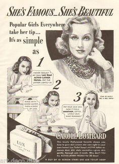 1940s Vintage Lux Soap Carole Lombard Movie Star Hollywood Beauty Bathroom Ad | eBay