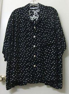 WE-BE-BOP-Black-White-Floral-Rayon-Short-Sleeve-Big-Shirt-2X