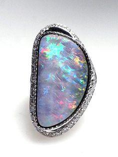 22.41ct. Boulder Opal & Diamond Ring