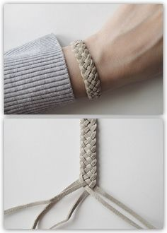 DIY 5 Strand Braid Tutorial from Design and Form here. This is a really clear tu… DIY 5 Strand Braid Tutorial from Design and Form here. This is a really clear tutorial and I like the leather cord used. For friendship bracelets of all kinds go here. Leather Jewelry, Leather Craft, Diy Leather Bracelet, Bracelet Box, Bracelet Charms, Leather Weaving, Strand Bracelet, 5 Strand Braids, Fishtail Plaits