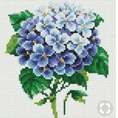 Branch of Hydrangea Diamond Embroidery (Mosaic) Snow White - Cross Stitch Mini Cross Stitch, Cross Stitch Heart, Cross Stitch Borders, Cross Stitch Designs, Cross Stitching, Cross Stitch Embroidery, Hand Embroidery, Cross Stitch Patterns, Cross Stitch Flowers Pattern