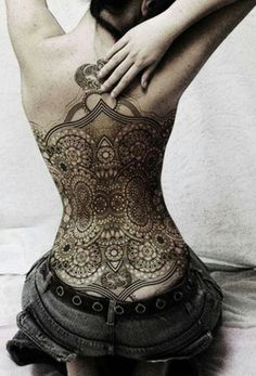 Back tattoo #lace #tattoo