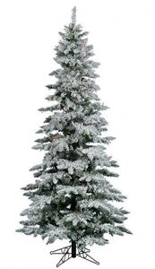 Perfect Holiday Pre-Lit Flocked Slim Christmas Tree with Warm White Led Lights - Evergreen Flocked Christmas Trees, Christmas Tree Wreath, Beautiful Christmas Trees, Slim Artificial Christmas Trees, Slim Christmas Tree, Snow Flock, Snowy Trees, White Led Lights, Flocking