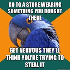 go to a store wearing something you bought there get nervous - Paranoid Parrot