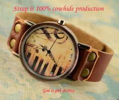 Vintage piano fashion watchesPure leather strap retro by Godisgirl, $11.99