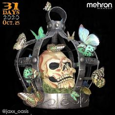 October 25th finalist @jaxx_oasis Thanks to our friends at @MehronMakeup Artist Inspo: I was inspired by Halloween decor and cages. I wanted to create something one of a kind something you could take home and display as a center piece. Products used: Creamblend and Paradise Makeup AQ #mehronmakeup #mehron #creamblend #paradisemakeupaq #skull #skullmakeup #cage #butterflies #creativemakeup #halloweenmakeup #halloween2020 #Halloween Halloween 2020, Halloween Make Up, Mehron Makeup, Halloween Makeup Looks, October 25, Oasis, Halloween Decorations, Skull, 31 Days