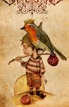 miquelrossellocalafell.wordpress.com  miquel rossello calafell-aosda saoghalan #leprechaun #luttin #duende #folk #celt #aosdasaoghalan #miquelrossello #hadas #faeries #illustration #bird