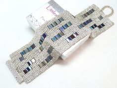 Shining Night Beadwoven Cuff Bracelet - Modern Blocks Collection. $69,00, via Etsy.