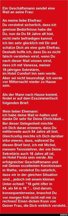 Ein Geschäftsmann sendet eine Mail an seine Frau: | DEBESTE.de, Lustige Bilder, Sprüche, Witze und Videos