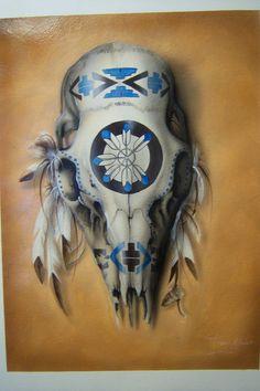 Indian Painted Deer Skulls | deer skull by tommyart76 traditional art paintings other 2010 2014 ...