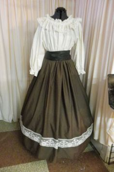 Civil War Era Dickens Pioneer Skirt with Ivory Lace Trim and Black Sash