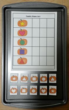Pumpkin Shapes Sort Cookie Sheet Activity:  Students identify and sort like shapes.
