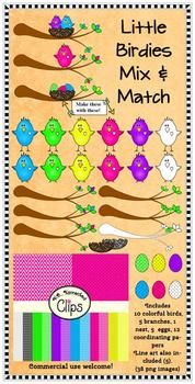 Clip Art - Little Birdies Mix and Match Collection $