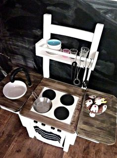 IKEA hack kitchen...maybe I can do this with our leftover chairs??