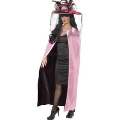 Costum adult, dama, Capa reversibila deluxe, roz si negru