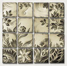 Botanical, creme. Handmade, sgraffito-carved ceramic  wall tile by Natalie Blake   $6,400  #tileart