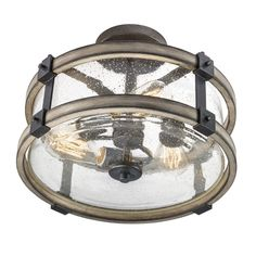 Shop Kichler Lighting Barrington 14.02-in W Anvil Iron and Driftwood Clear Glass Semi-Flush Mount Light at Lowes.com