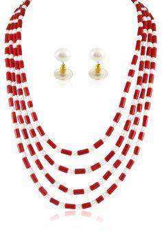 Jagdamba Pearls Red/ White Pearl String  http://www.jabongworld.com/red-white-pearl-string-1041066.html